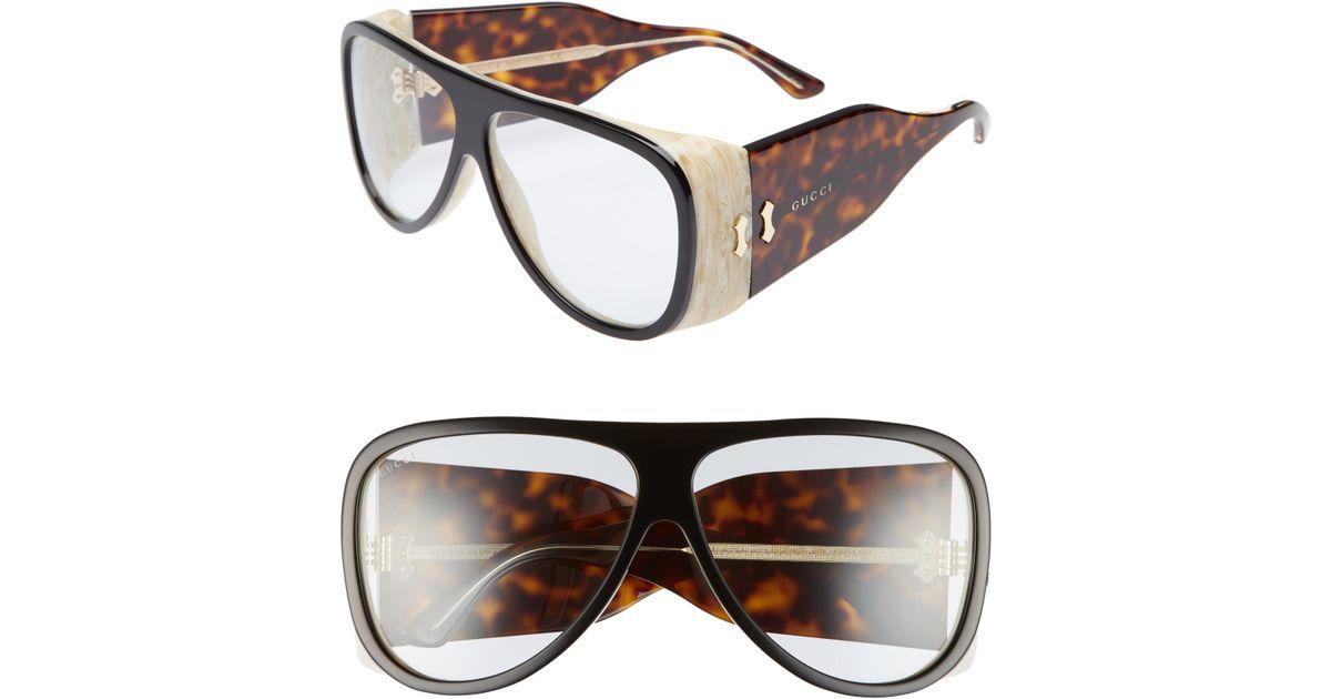 ed87554a027a7 Lyst - Gucci 63mm Oversize Aviator Sunglasses -