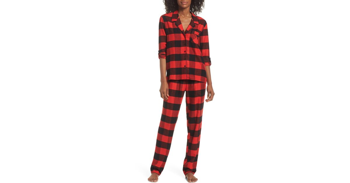 115675540cbf1 Lyst - Nordstrom Lingerie Starlight Flannel Pajamas in Red