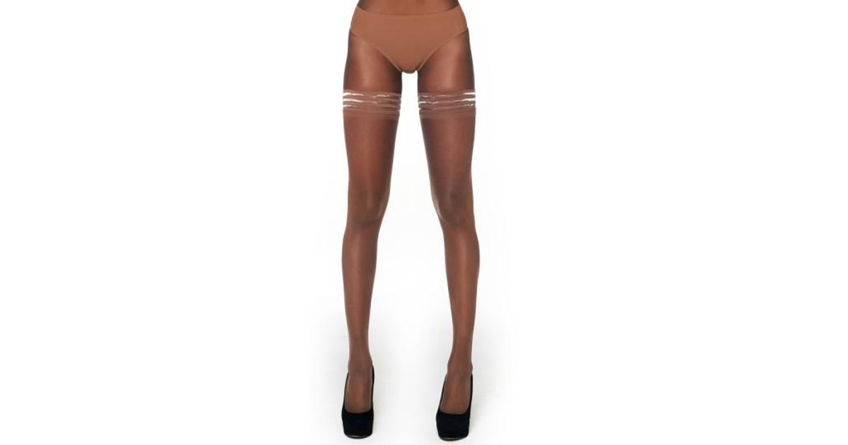 b2cfc62843f Nubian Skin Sheer Matte Stay-ups - Lyst