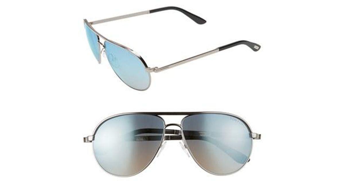 7c0f3b7d53 Lyst - Tom Ford  marko  58mm Metal Aviator Sunglasses - Shiny Light  Ruthenium in Blue for Men