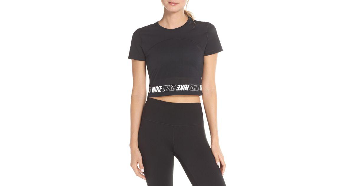 f01568bb8b3fc Lyst - Nike Dry Pro Crop Top in Black