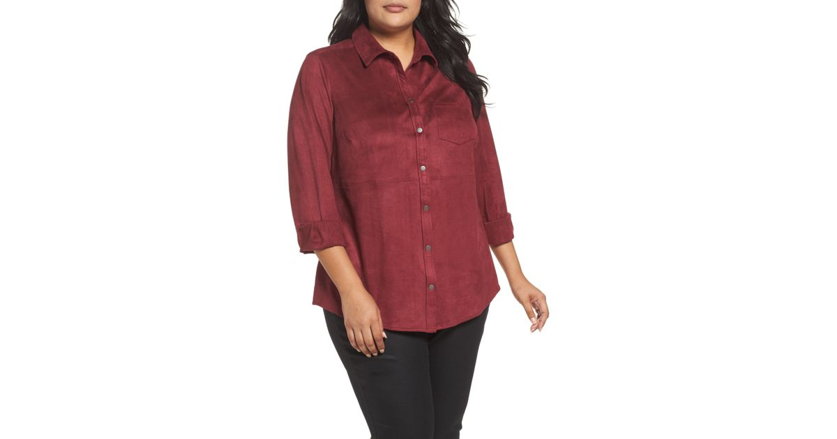 ee7b02cd1227f7 Lyst - Foxcroft Jena Faux Suede Shirt in Red