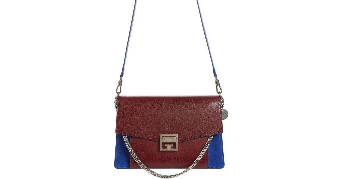 7d6c4db025c0 Lyst - Givenchy Medium Gv3 Leather   Suede Handbag - Burgundy in Purple