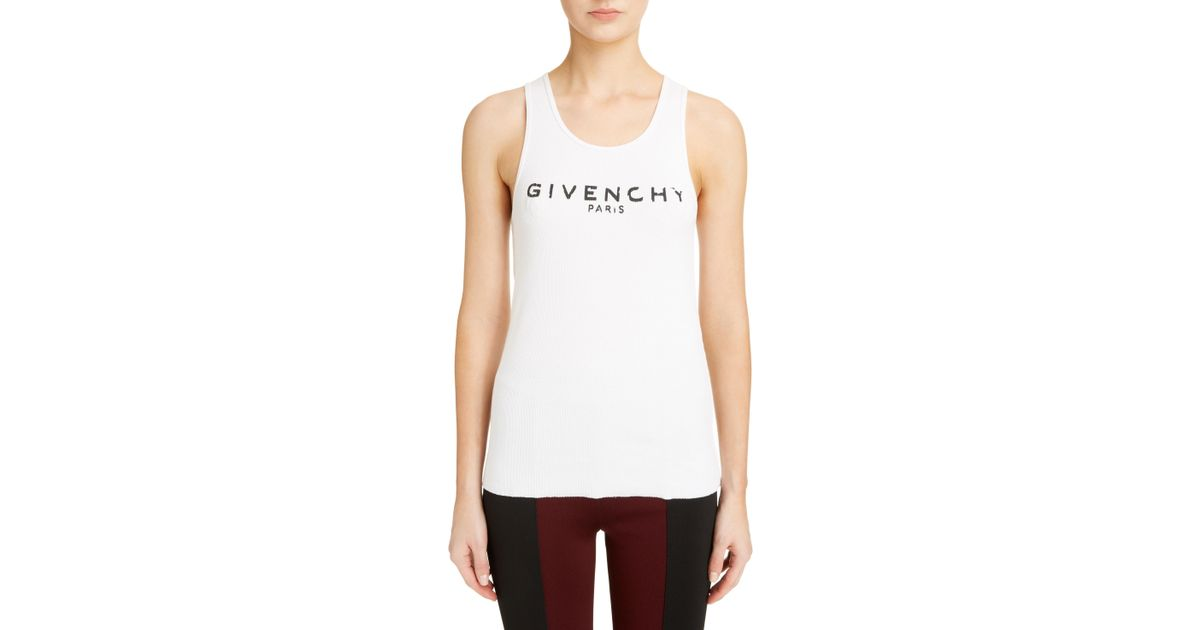 ce28aa7c918c9 Lyst - Givenchy Logo Ribbed Tank Top in White