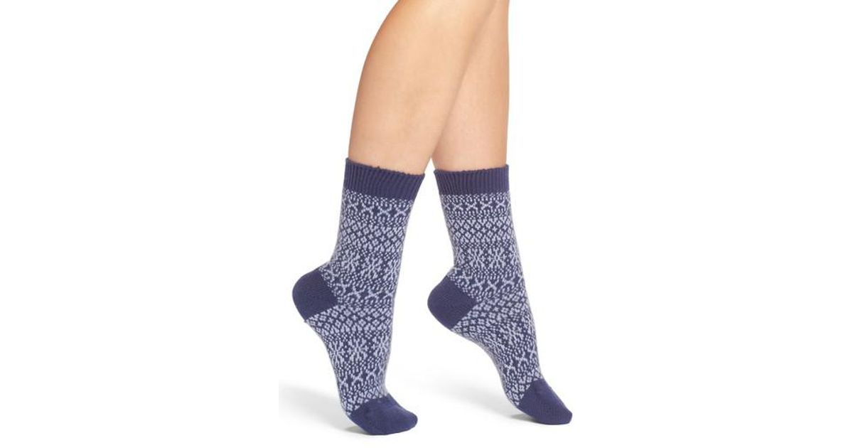 Pantherella Faith Fair Isle Crew Socks in Blue | Lyst