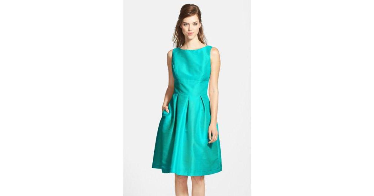 e19a41a8ef7 Lyst - Alfred Sung Dupioni Fit   Flare Dress in Blue