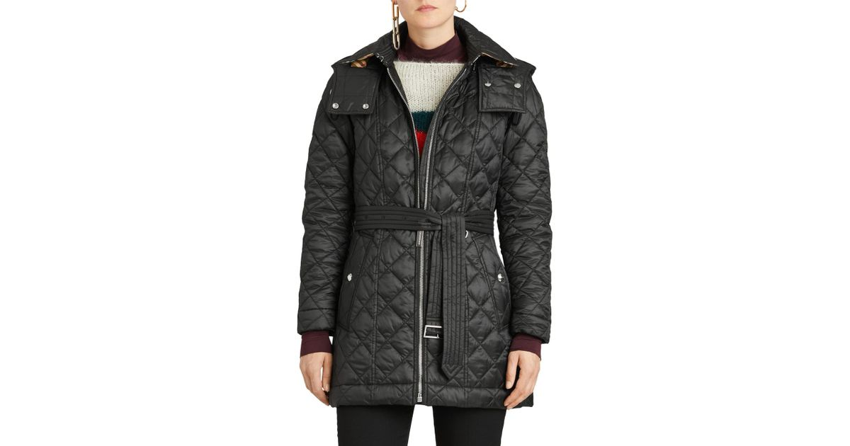 50f7e7d8cd4e Lyst - Burberry Baughton 18 Quilted Coat in Black