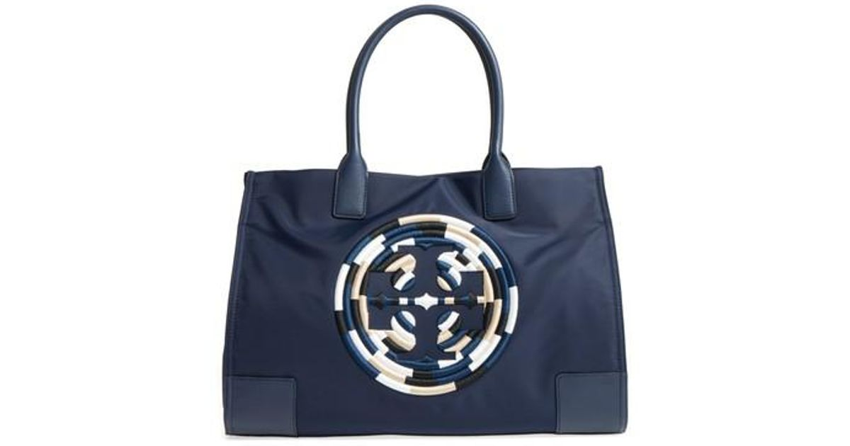 ec6ae51d008 Lyst - Tory Burch Ella Embroidered Logo Nylon Tote in Blue