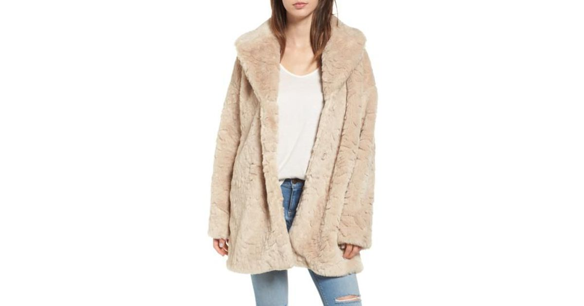 ccb113fa9e0 Steve Madden Shaggy Faux Fur Coat in Natural - Lyst
