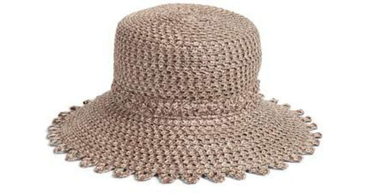 b3badb0739084 Lyst - Eric Javits Ibiza Squishee Bucket Hat in Brown