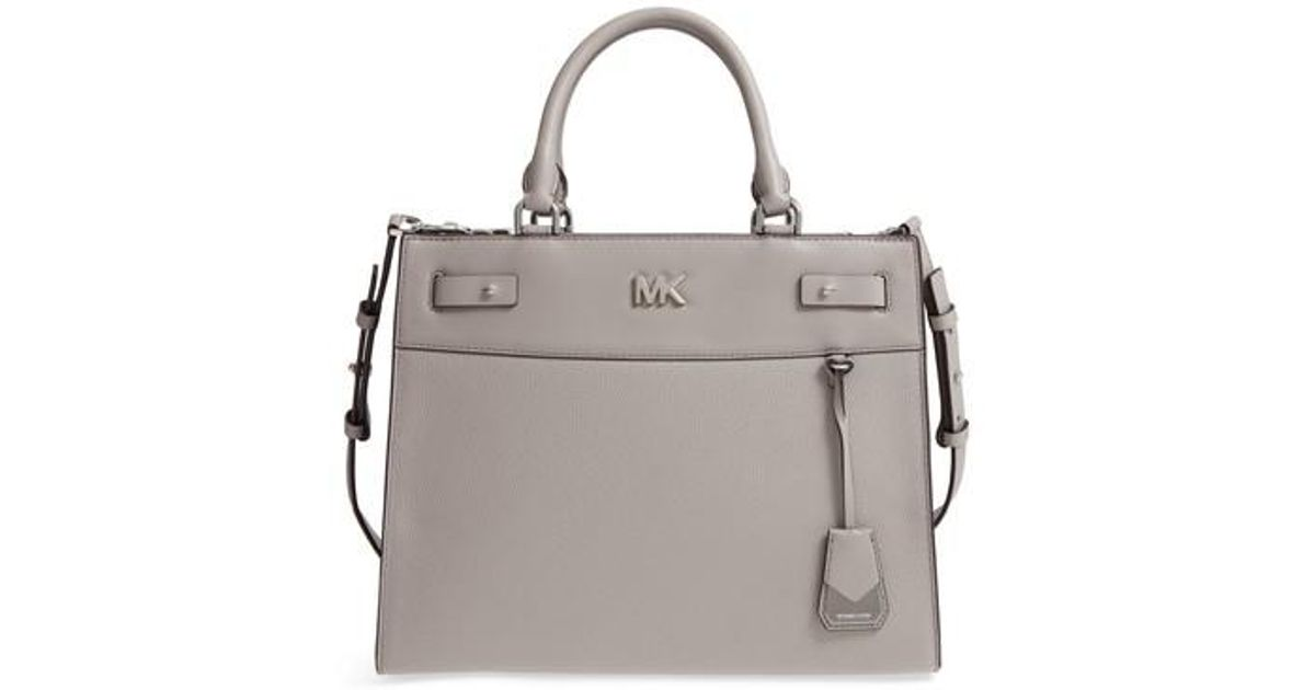 a869b9916fa5 Lyst - Michael Michael Kors Reagan Large Leather Satchel in Gray