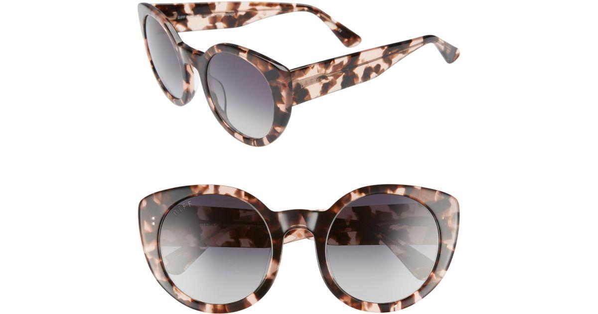 b95beaa5a87 Lyst - DIFF Luna 54mm Polarized Round Sunglasses - Himalayan Tortoise  Grey  in Gray
