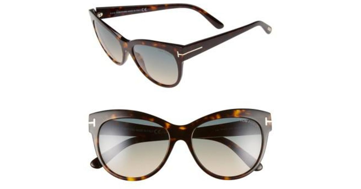 03b013d1cb Lyst - Tom Ford  lily  56mm Cat Eye Sunglasses - Dark Havana  Gradient  Green in Brown