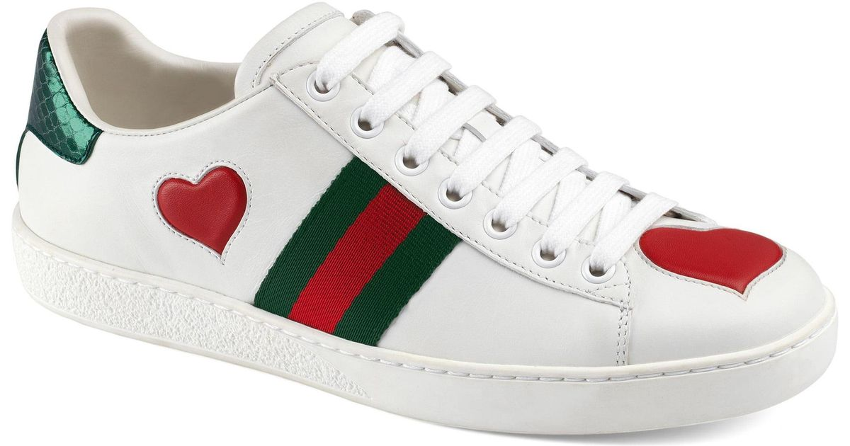 0cdf138c744 Lyst - Gucci New Ace Heart Sneaker in White