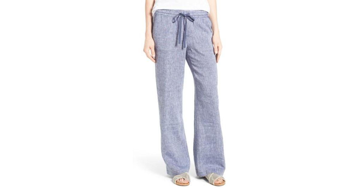 Lyst Caslon R Drawstring Linen Pants Regular Amp Petite