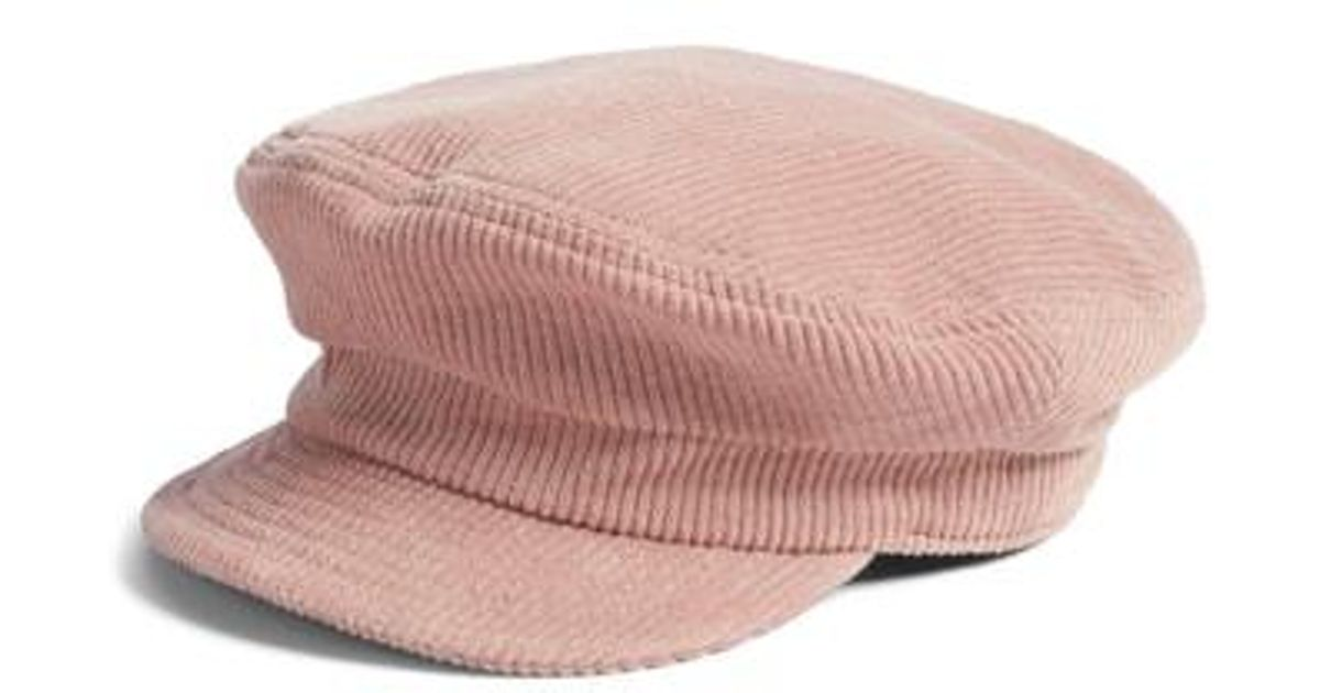4b8c1ac799e Lyst - Brixton Fiddler Corduroy Baker Boy Cap in Pink