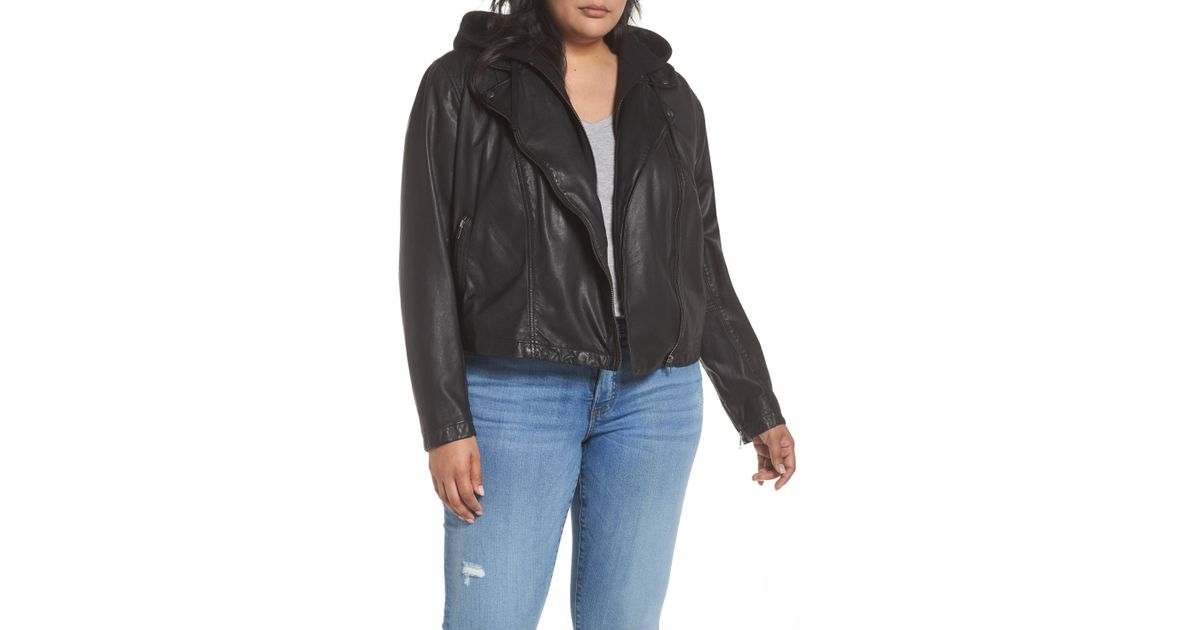 f28bb78329f42 Lyst - Caslon Caslon Hooded Leather Jacket With Removable Hood in Black