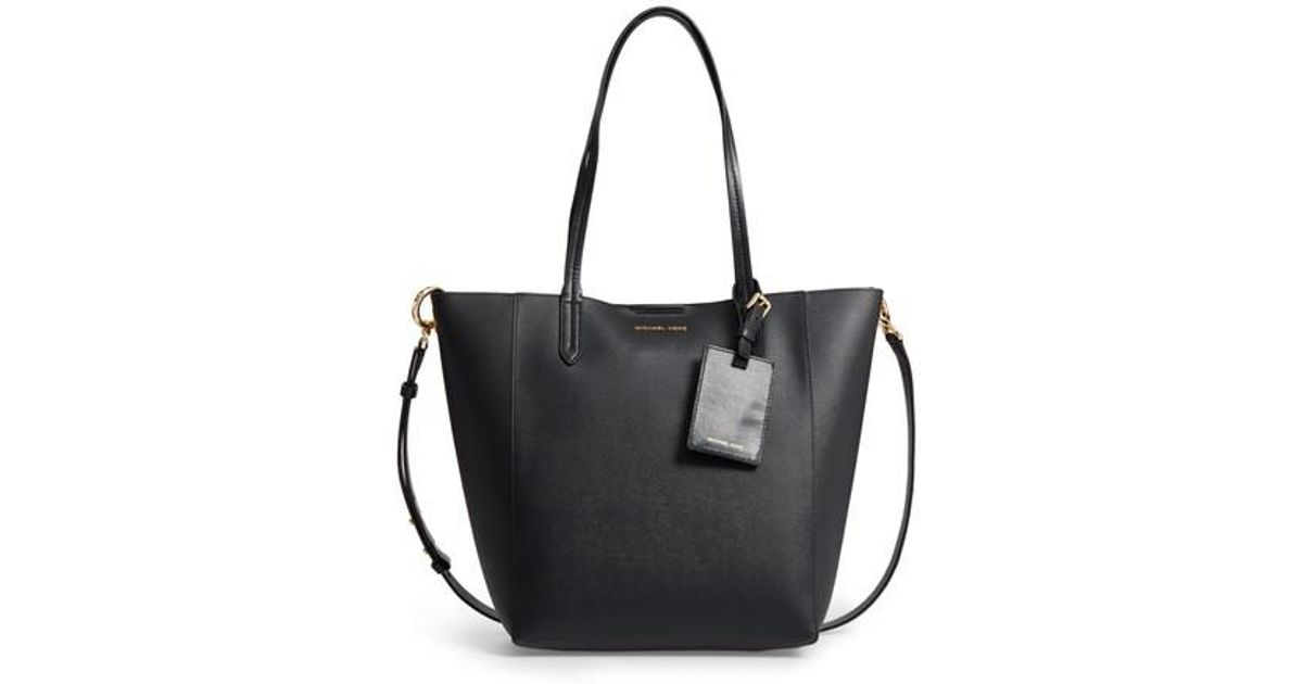 92c205c8549d Lyst - MICHAEL Michael Kors Penny Large Saffiano Convertible Leather Tote  in Black