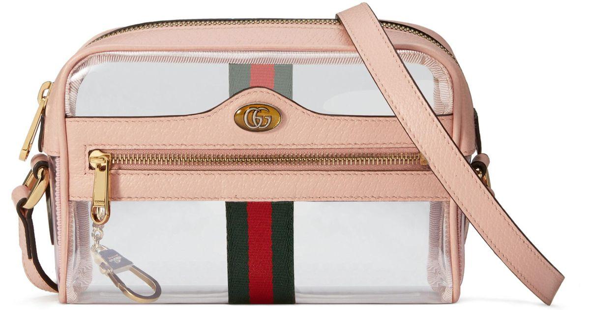 0d94f002d Gucci Ophidia Mini Transparent Bag in Pink - Lyst