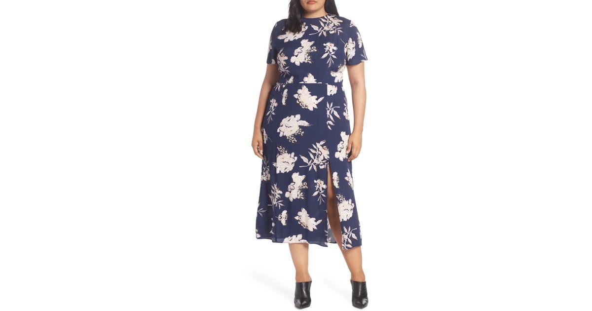 029f66de88 Leith Print Midi Dress (plus Size) in Blue - Lyst