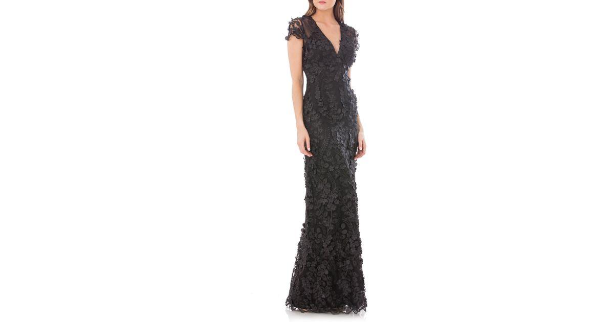0f560ed4e3eea Carmen Marc Valvo 3d Floral Mermaid Gown in Black - Lyst