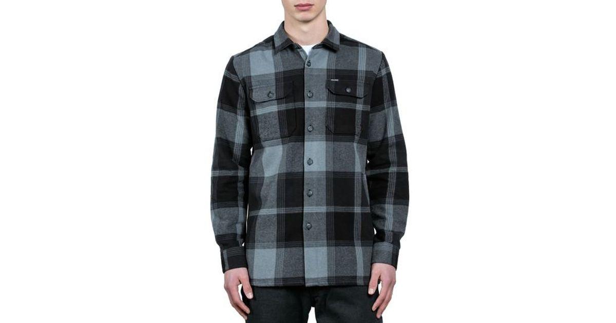 Lyst volcom heavy daze plaid flannel shirt jacket in for Heavy plaid flannel shirt