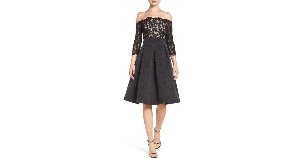 02951dc8848a2 Lyst - Eliza J Off The Shoulder Fit   Flare Cocktail Dress (regular    Petite) in Black - Save 75%