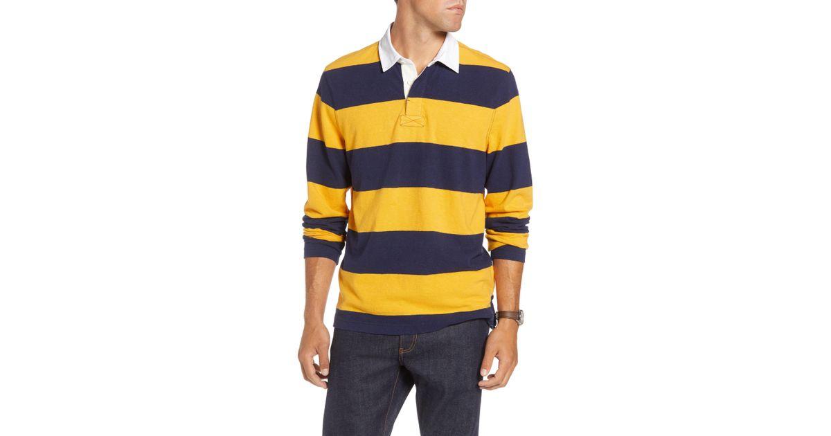 6fd8db82d Lyst - Nordstrom 1901 Slub Stripe Long Sleeve Rugby Polo in Blue for Men