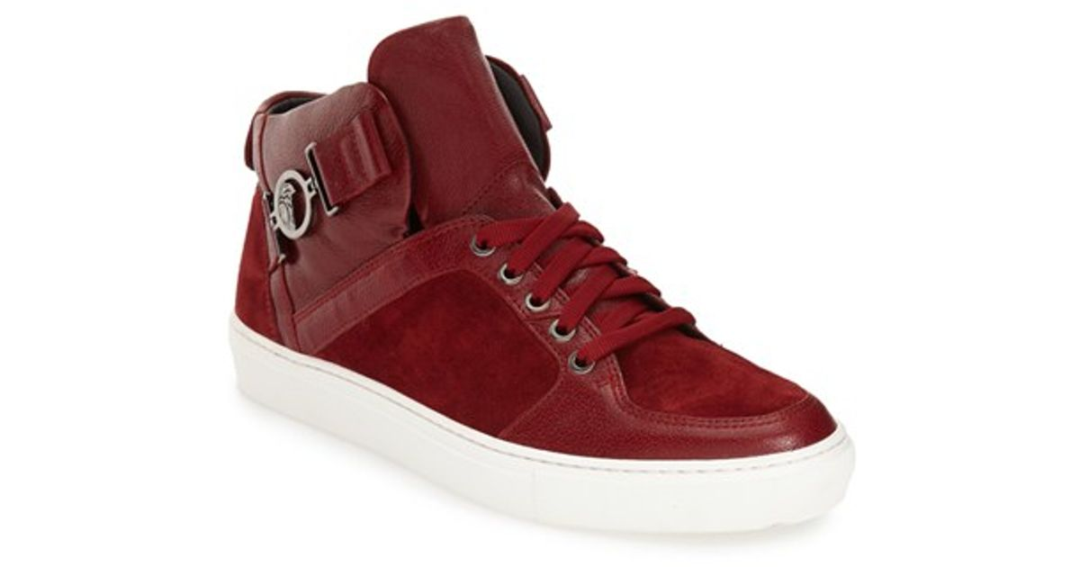 Versace Buckle High Top Sneaker in Red for Men | Lyst