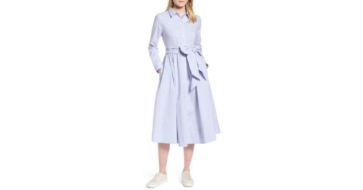08940e2e3e3 Lyst - Nordstrom 1901 Stripe Midi Shirtdress in Blue