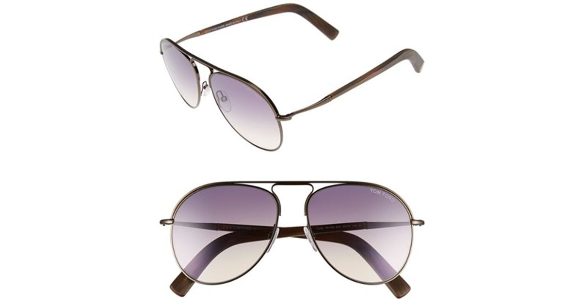 14cf41e6e51a3 Lyst - Tom Ford  cody  56mm Aviator Sunglasses - Shiny Dark Brown  Gradient  in Brown for Men