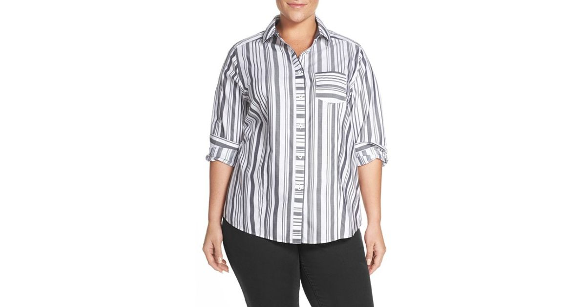 Foxcroft stripe no iron cotton shirt in black lyst - How to unwrinkle your clothes with no iron ...