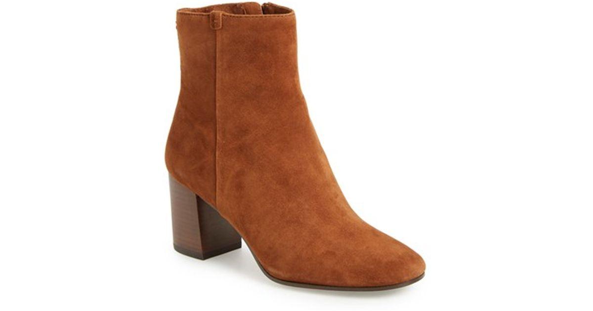 c296d2a3084110 Lyst - Frye Jodi Suede Block-heel Bootie in Brown