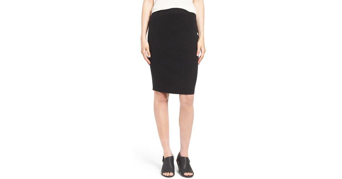 eileen fisher knee length wool crepe knit skirt in black