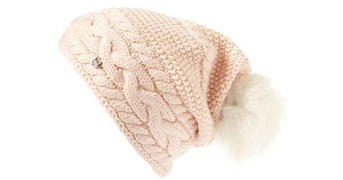 Lyst - UGG Ugg Cable Knit Genuine Shearling Pom Beanie 1b41a908b03