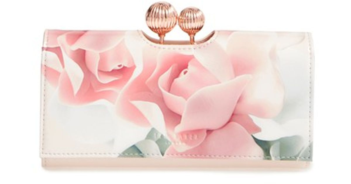 4bbbec396639f Lyst - Ted Baker Idella Leather Matinee Wallet in Pink