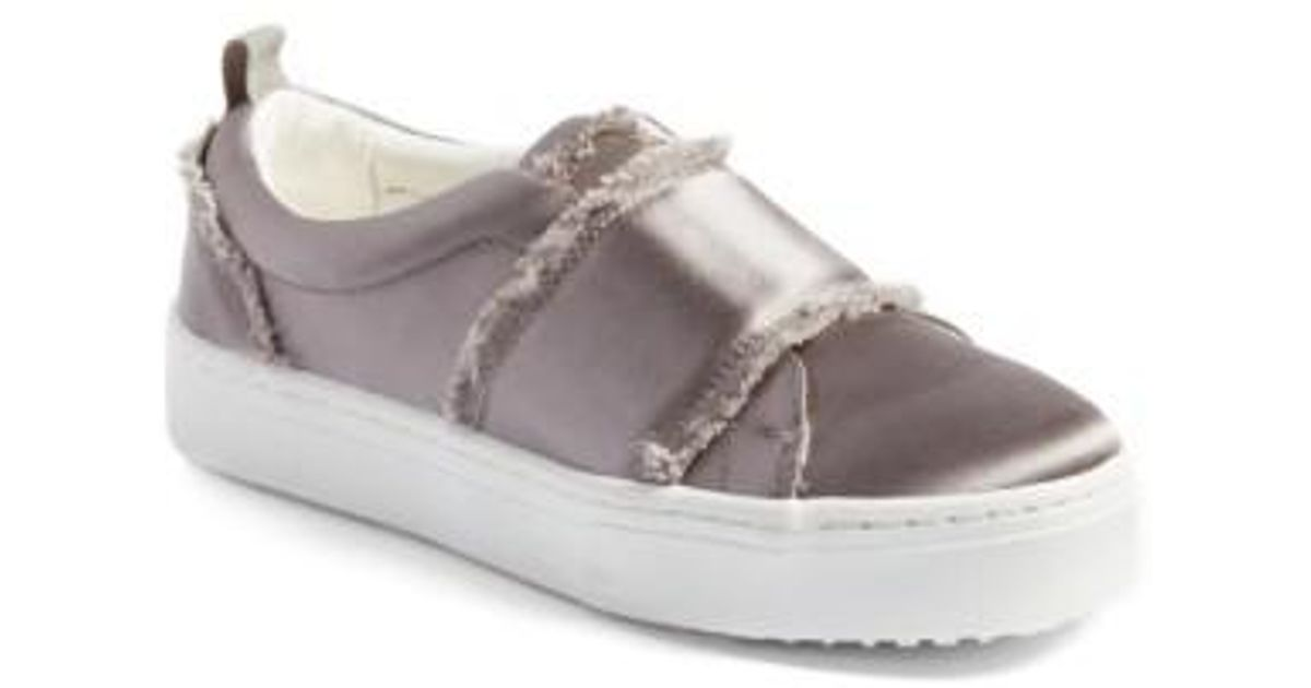 cd72ac651322d Lyst - Sam Edelman Levine Fringe Slip-on Platform Sneaker in Gray