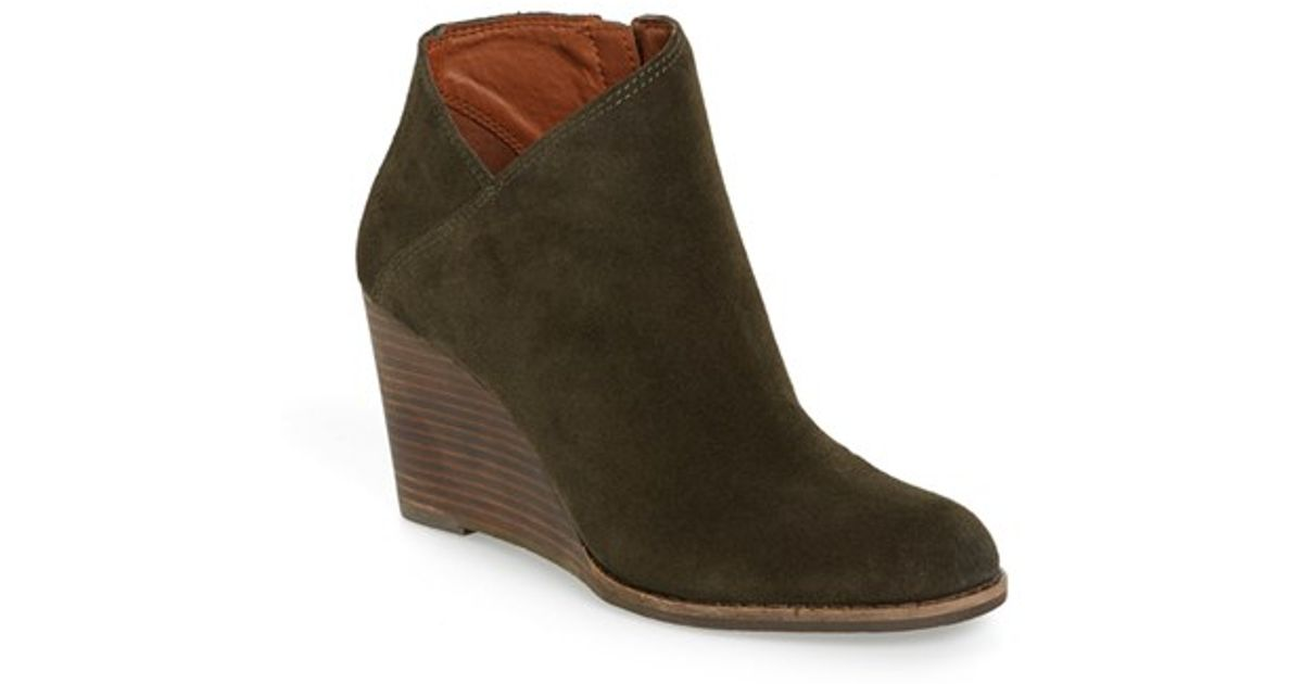 ab1de6aba18c Lyst - Lucky Brand  yakeena  Zip Wedge Bootie in Brown