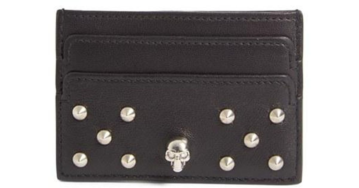 2d0f342683a6 Lyst - Alexander McQueen Studded Buffalo Leather Card Holder in Black