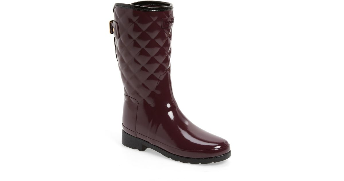 64fcc386e915 Lyst - HUNTER Refined High Gloss Quilted Short Waterproof Rain Boot in Brown