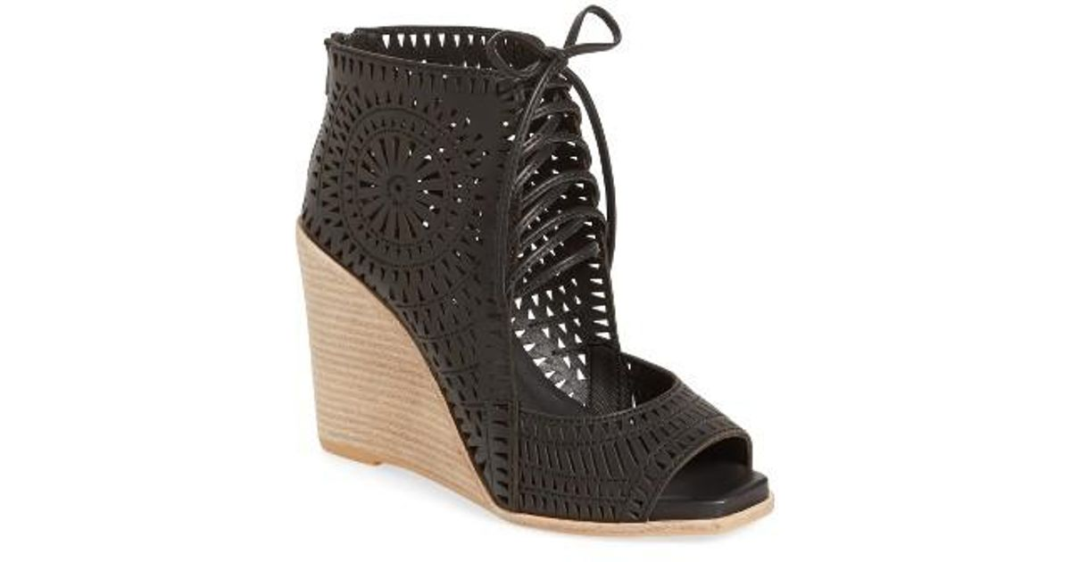 Lyst Jeffrey Campbell Rayos Perforated Wedge Sandal In Black