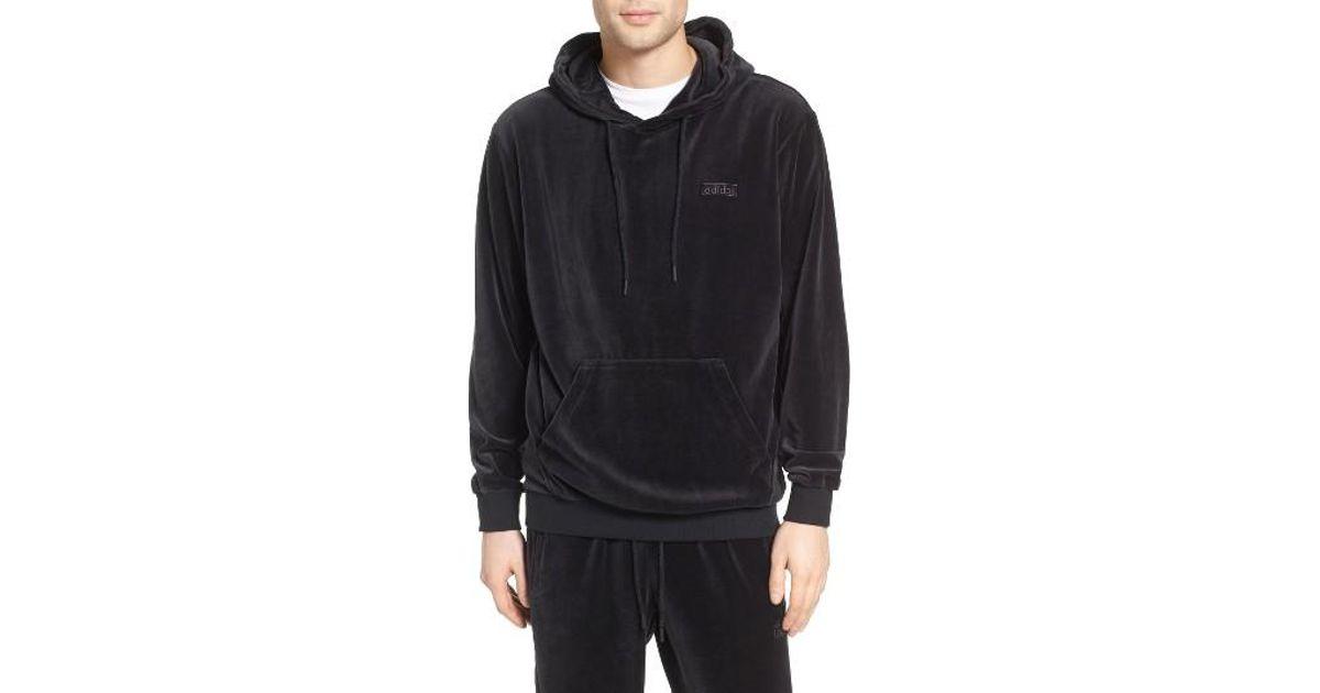 adidas originals velour hoodie in black for men lyst. Black Bedroom Furniture Sets. Home Design Ideas