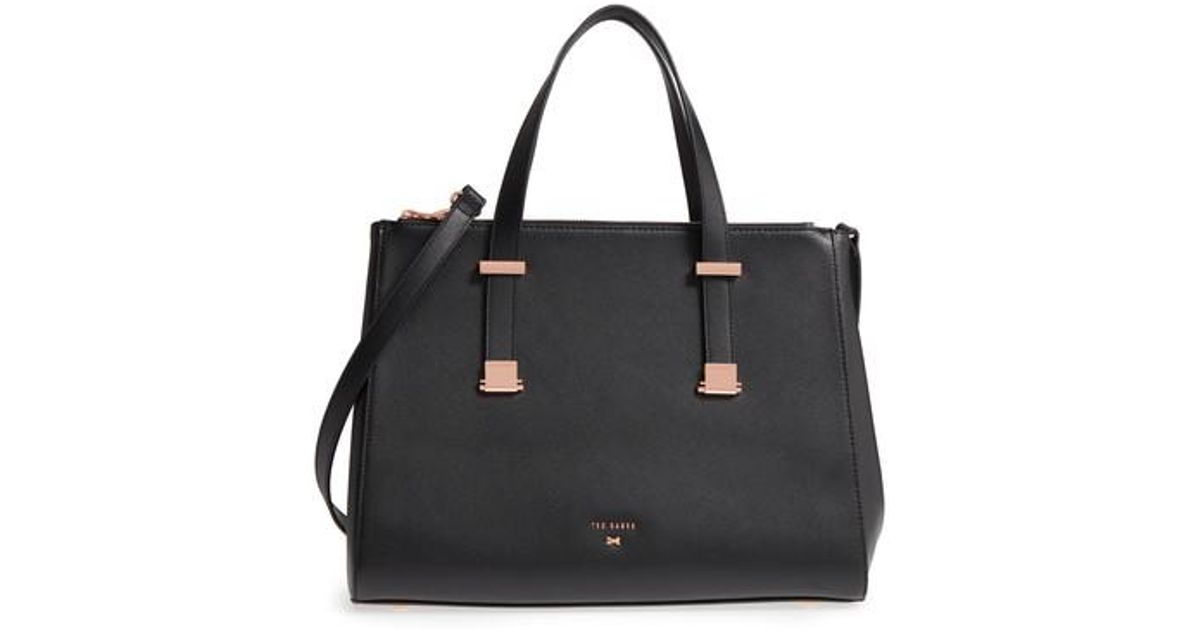 96a5f5555e Ted Baker Aminaa Large Adjustable Handle Leather Shopper in Black - Lyst