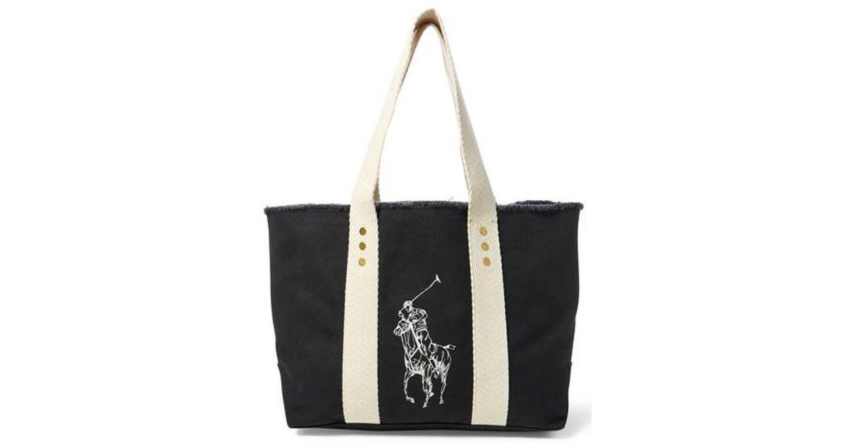 755e964f4e Lyst - Polo Ralph Lauren Medium Pony Canvas Tote - in Black