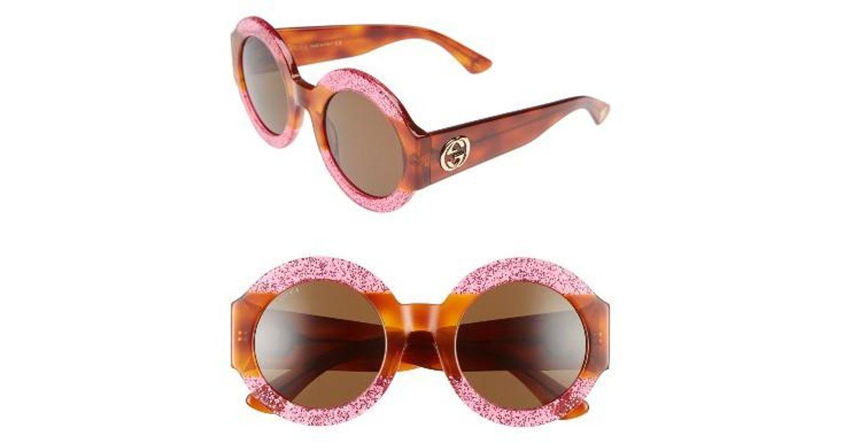 Women's 51mm Round Sunglasses - Fuschia/ Brown