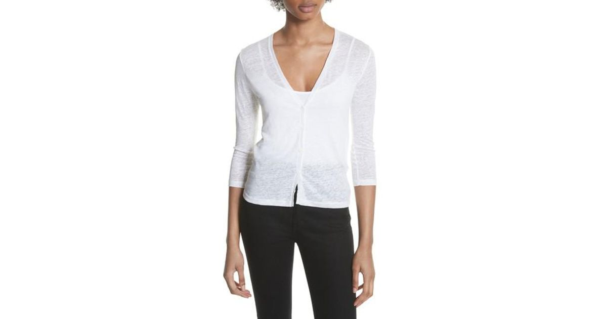 79485496d5 Majestic Filatures Knit Linen Cardigan in White - Lyst
