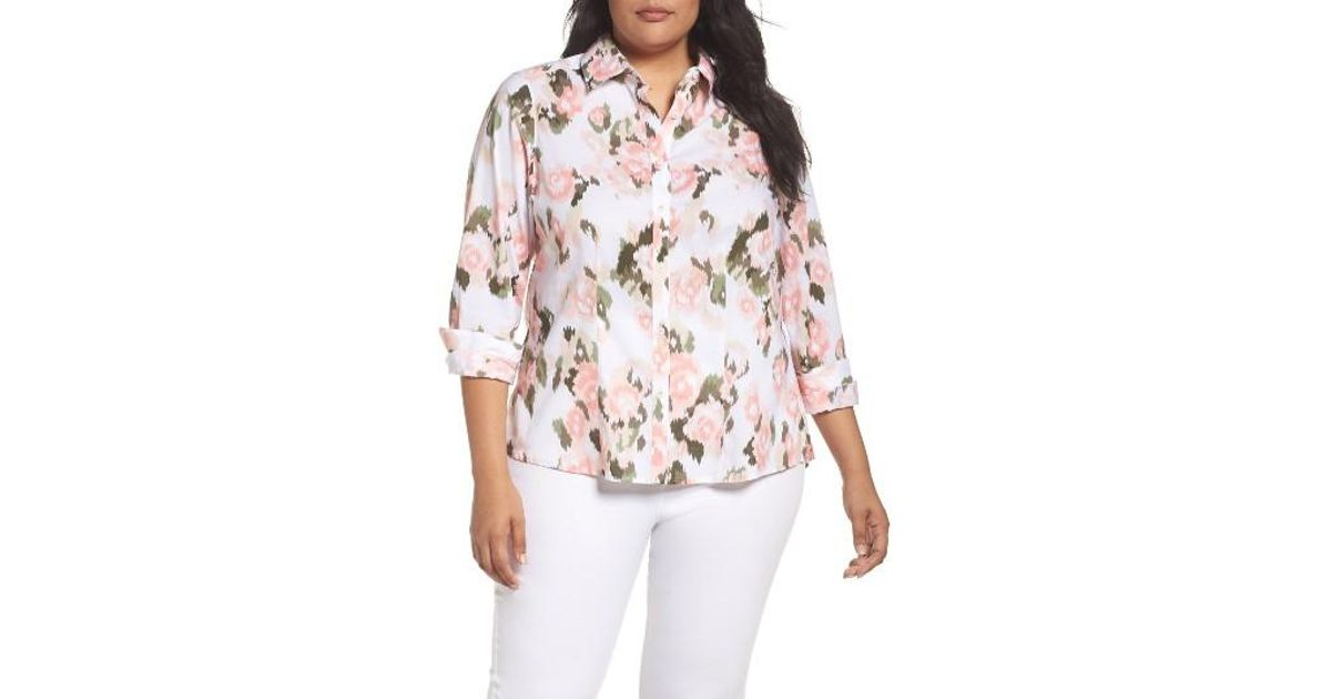 7b0438fc52c Lyst - Foxcroft Brooke Floral Ikat Button Up Tunic in Pink