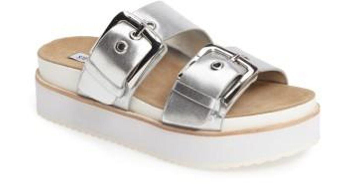 2457abbc3af Lyst - Steve Madden Pate Platform Sandal in Metallic