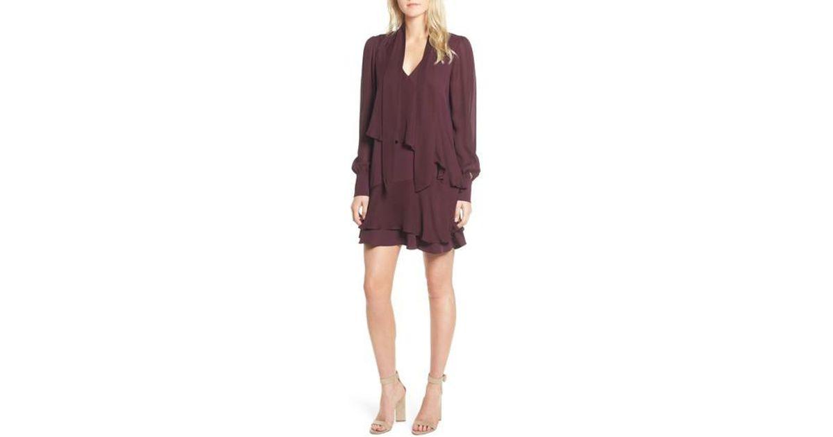 Lyst Parker Kenji Tie Neck Dress In Purple