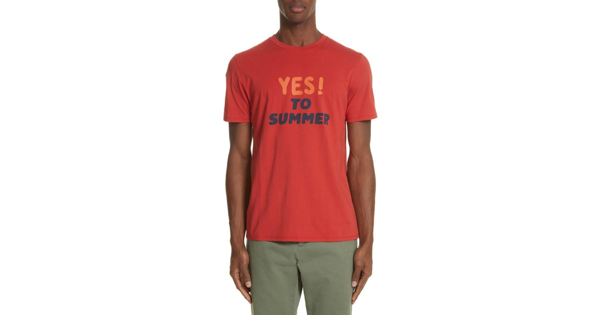 d3341fafd55b Lyst - A.P.C. Yes! To Summer Graphic T-shirt in Red for Men